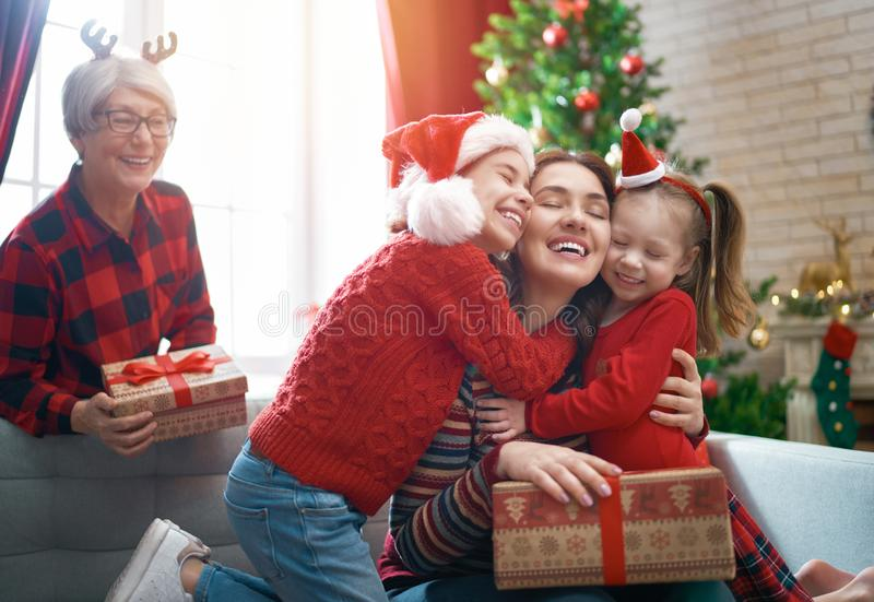 Family celebrating Christmas stock image