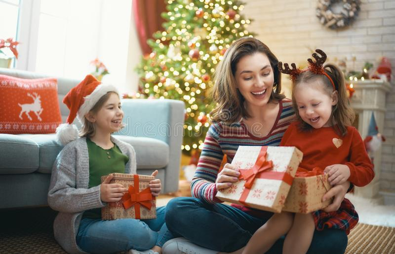 Family celebrating Christmas stock photo