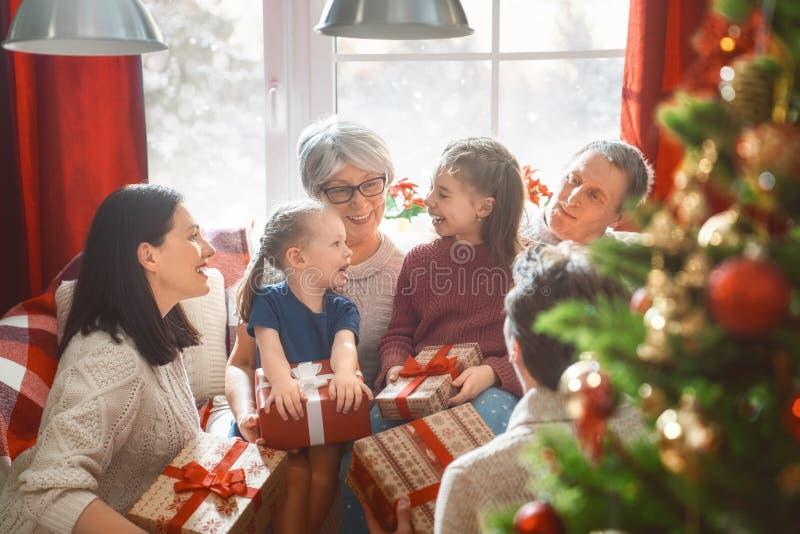 Family celebrating Christmas stock image
