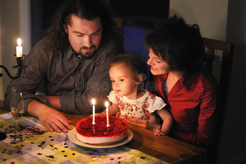 Family Celebrating Daughter S Second Birthday Royalty Free Stock Photo