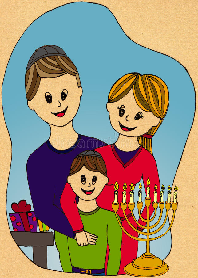 Family celebrating hanukkah. Illustration of a family celebrating hanukkah: mum, dad and son with candles and presents stock illustration