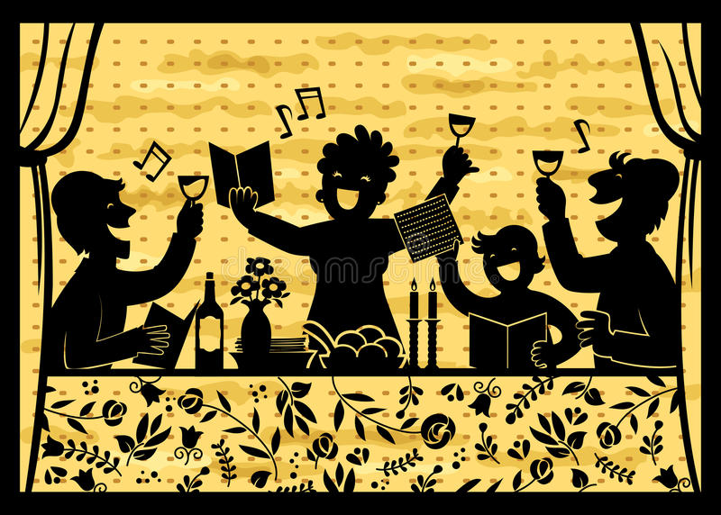 Family celebrating Passover. Silhouette of a family celebrating Passover over background with matzo texture stock illustration