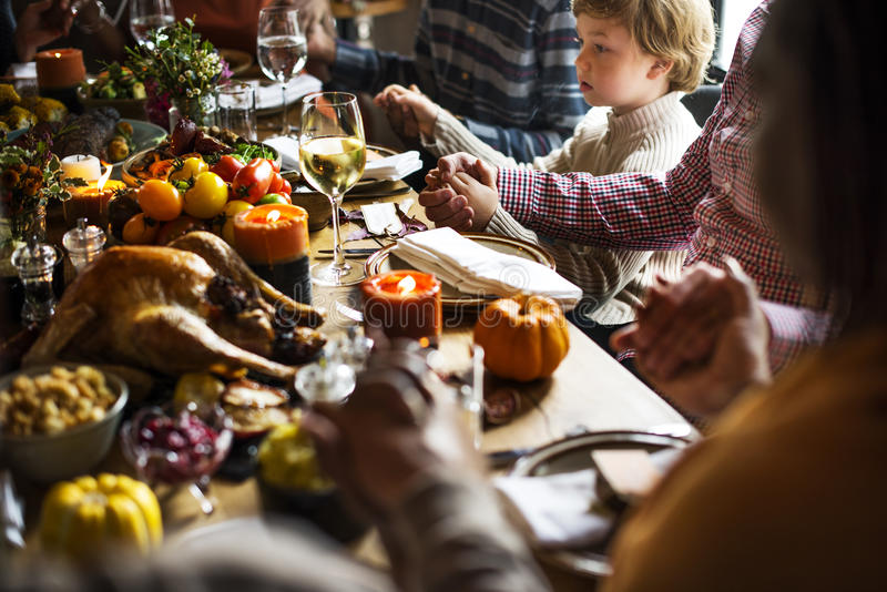 Family Celebrating Thanksgiving Party Concept royalty free stock images