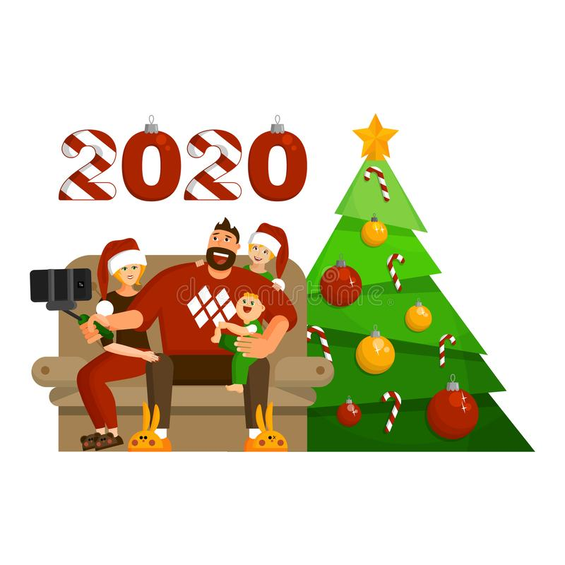 Family celebration of Christmas or New year at home. Married couple with daughter and baby son are making selfie stock illustration