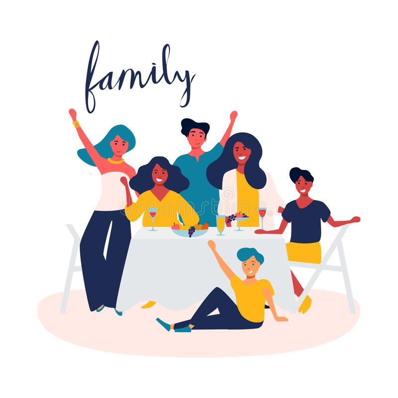 Family celebration, garden party outside in the backyard. Happy young smiling group of people with children have fun. Picnic in the park together. Summer vector illustration