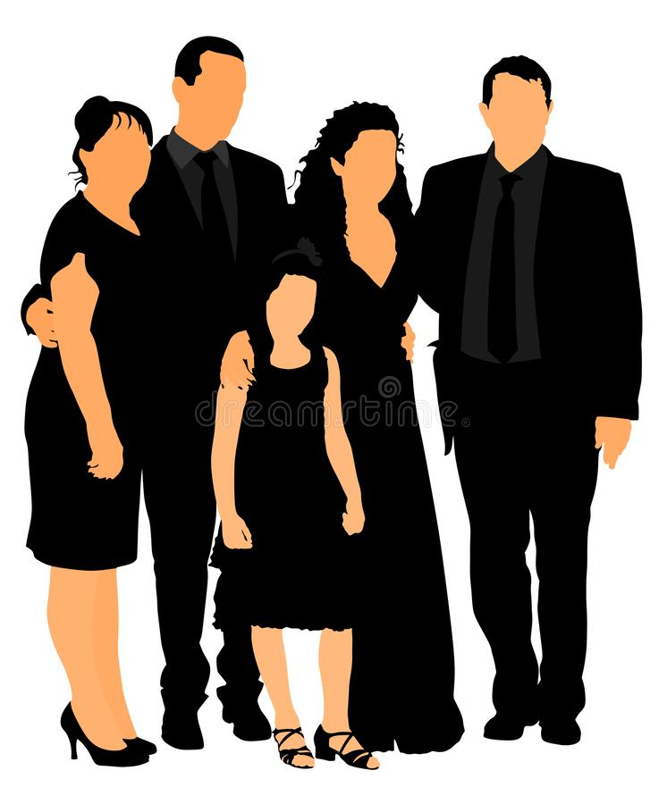 Family on cemetery or graveyard mourning deceased relative. Featuring People Weeping at a Funeral. Service vector illustration. Broken hart vector illustration