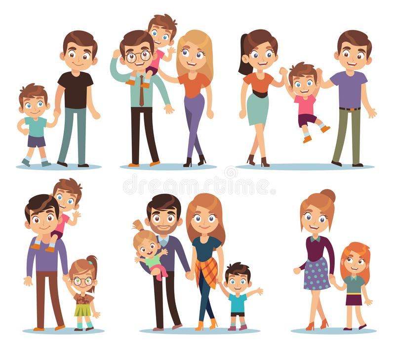 Family characters. Happy traditional families people relationship mother father kids grandma grandpa pet colorful. Cartoon vector smilling couple set royalty free illustration
