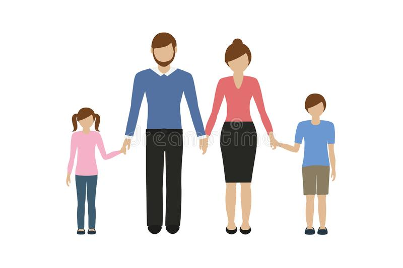 Family characters mother father boy and girl. Isolated on white background vector illustration EPS10 vector illustration
