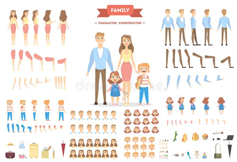 Family characters set. stock illustration