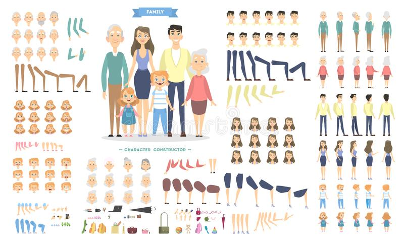 Family characters set. Family characters set with poses and emotions royalty free illustration