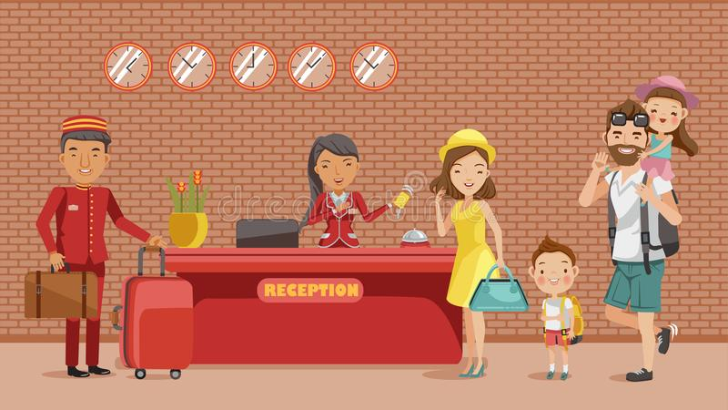 Check in. Family checking in hotel at lobby. The receptionist holds a key card, a porter carrying luggage, Dad carrying his daughter, mother, son, Hotel stay vector illustration