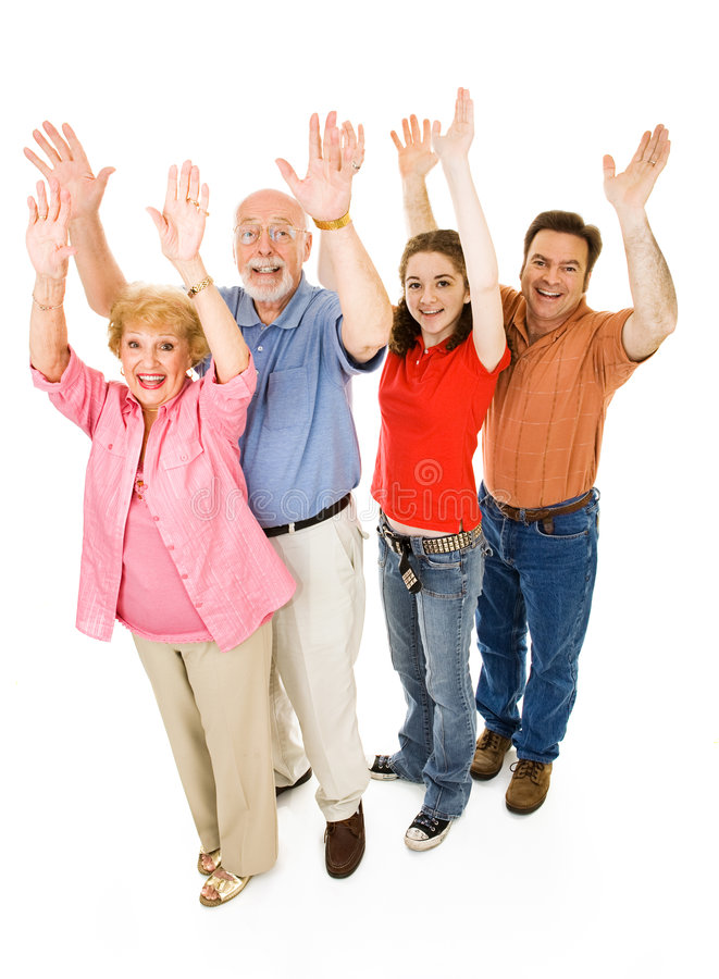 Family Cheer. Extended family of grandparents, father, and teen daughter, all giving a big cheer. Full body isolated on white