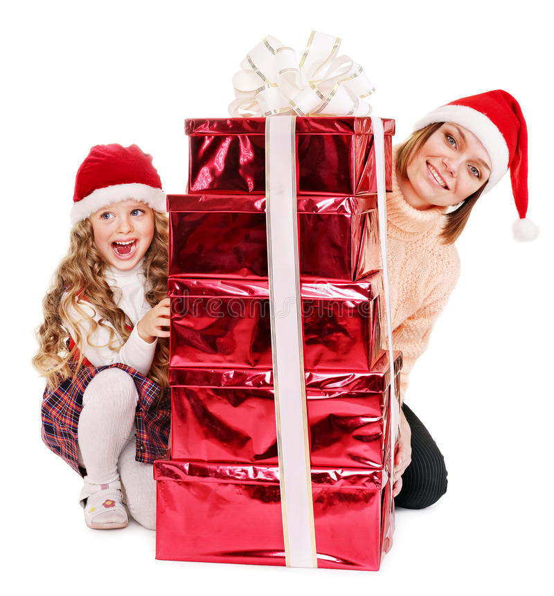 Download Family With Child Giving Stack Red  Gift Box. Stock Image - Image: 27677413