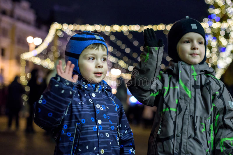 Download Family, Childhood, Season And People Concept - Happy In Winter C Stock Photo - Image: 83705914