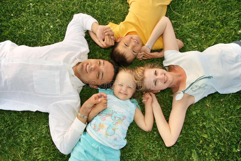 Family with children stock images