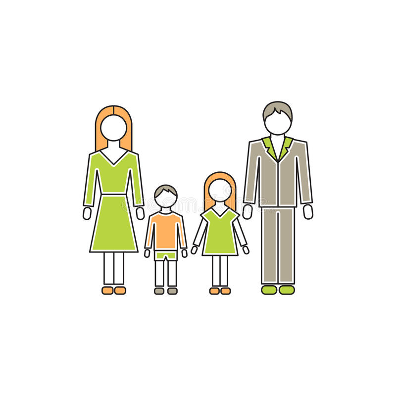 Family with children line icon vector illustration