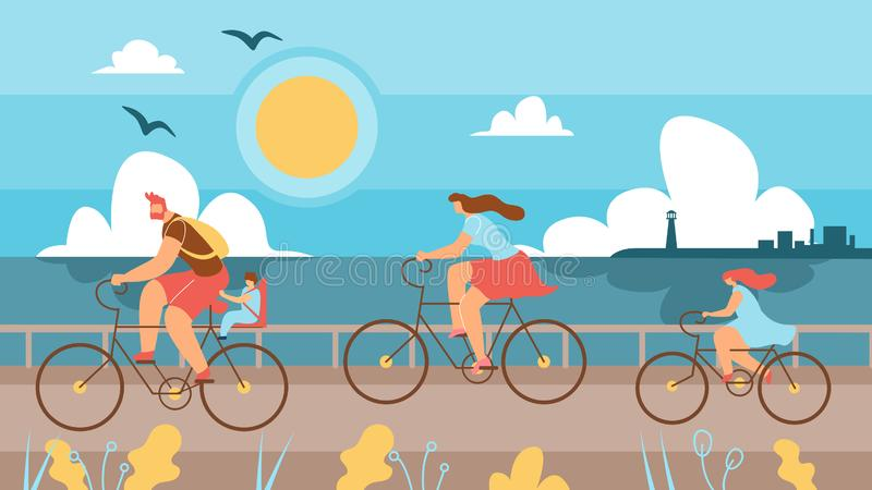 Family with Children Riding Bikes Along Coast. Husband and Wife with Children Spend Time Cycling on Background Sea. In Foreground Father Takes his Son on vector illustration