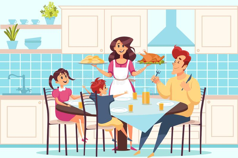 Family with children sitting at dining table, people having dinner together concept royalty free illustration
