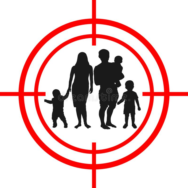 Family with children target. Under aim.  royalty free illustration