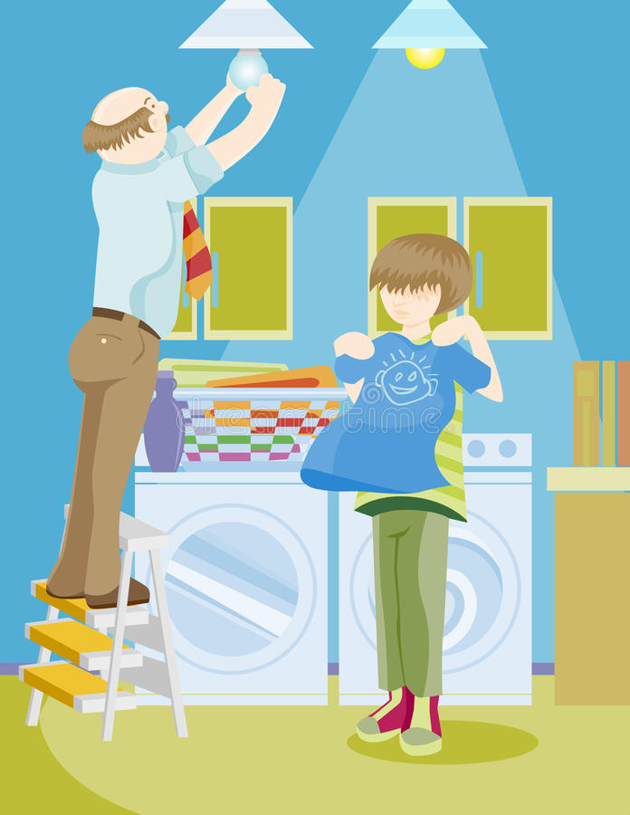 Family Chores. Cartoon image of family doing house chores together royalty free illustration
