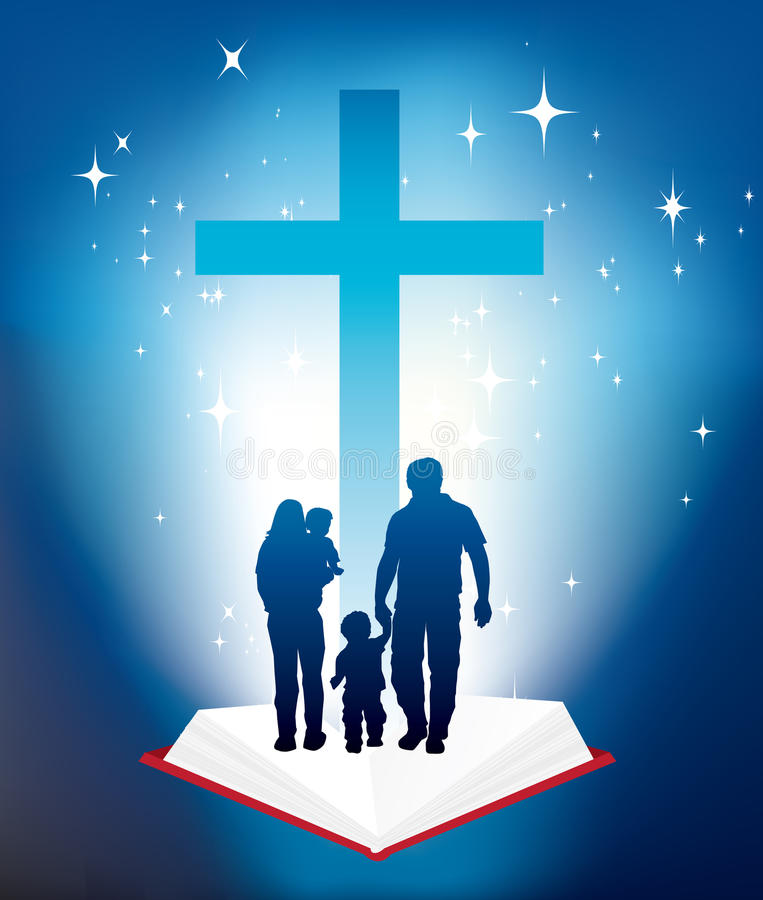 Family christianity vector illustration