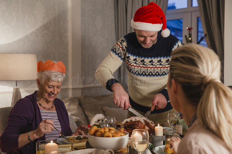 Family Christmas Dinner stock photos