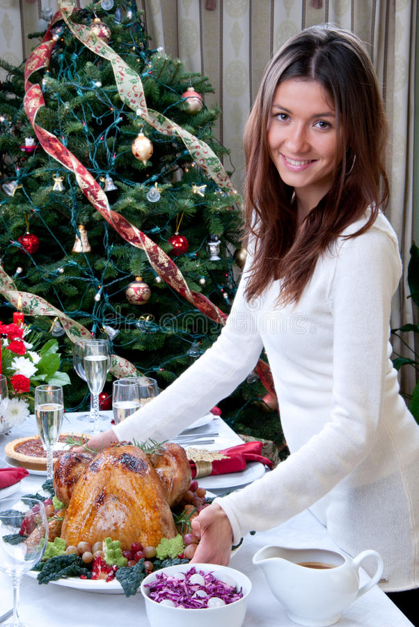 Family christmas dinner Roasted turkey stock image
