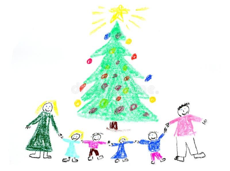 Family Christmas drawing stock image