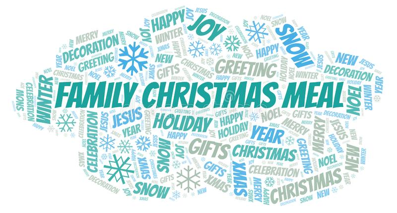 Family Christmas Meal word cloud. Wordcloud made with text only royalty free illustration