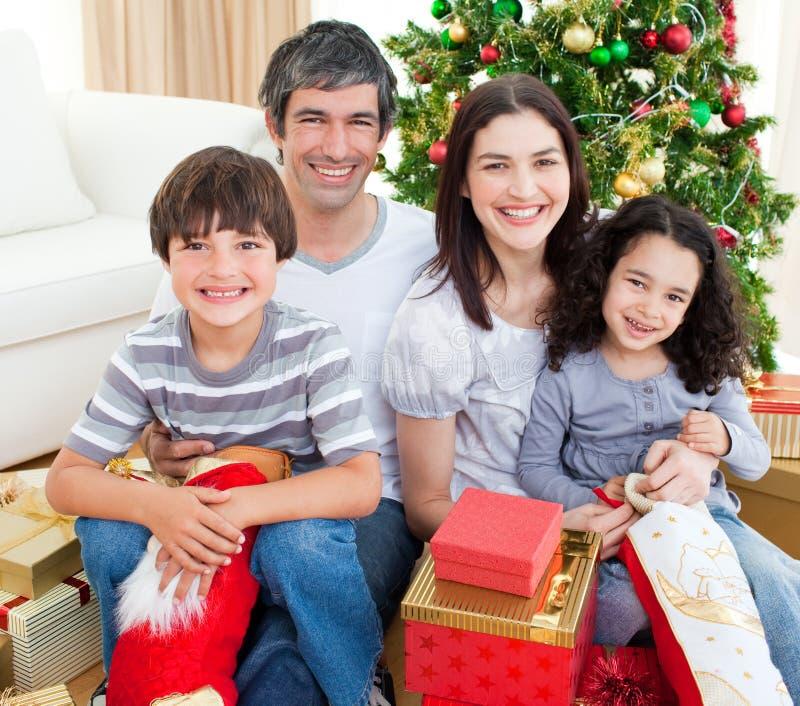 Family Christmas Portrait Royalty Free Stock Photo