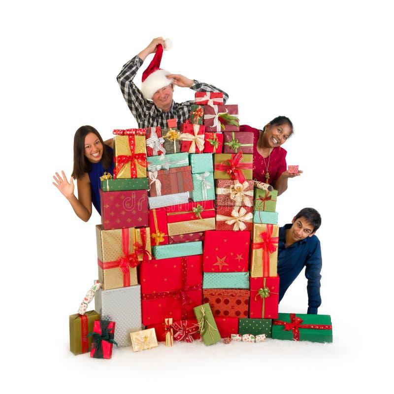 Family christmas presents stock photo