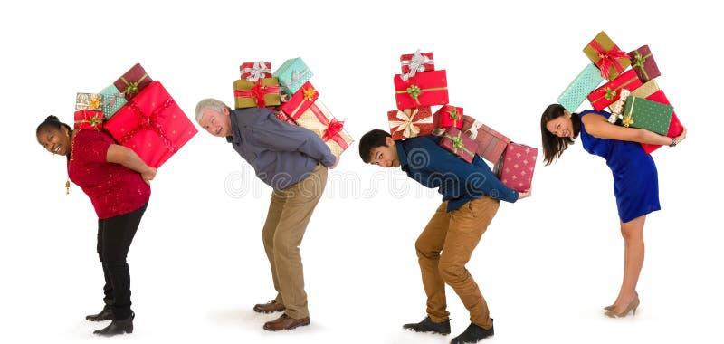 Family christmas shopping royalty free stock photo