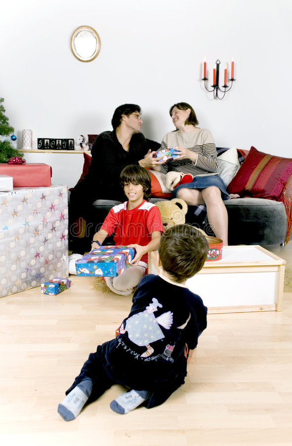 Family christmas time royalty free stock image