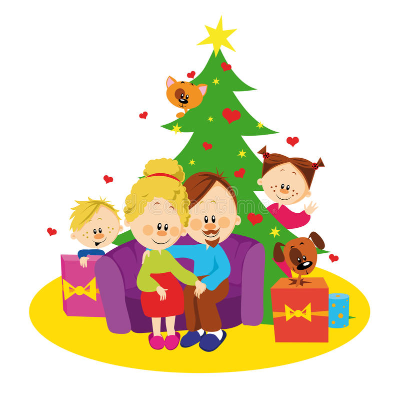 Download Family and christmas tree stock vector. Illustration of brother - 26576084