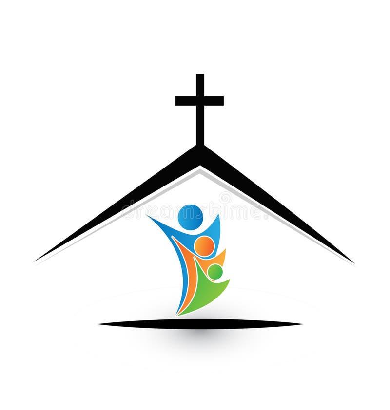 Family in church, community icon logo stock illustration
