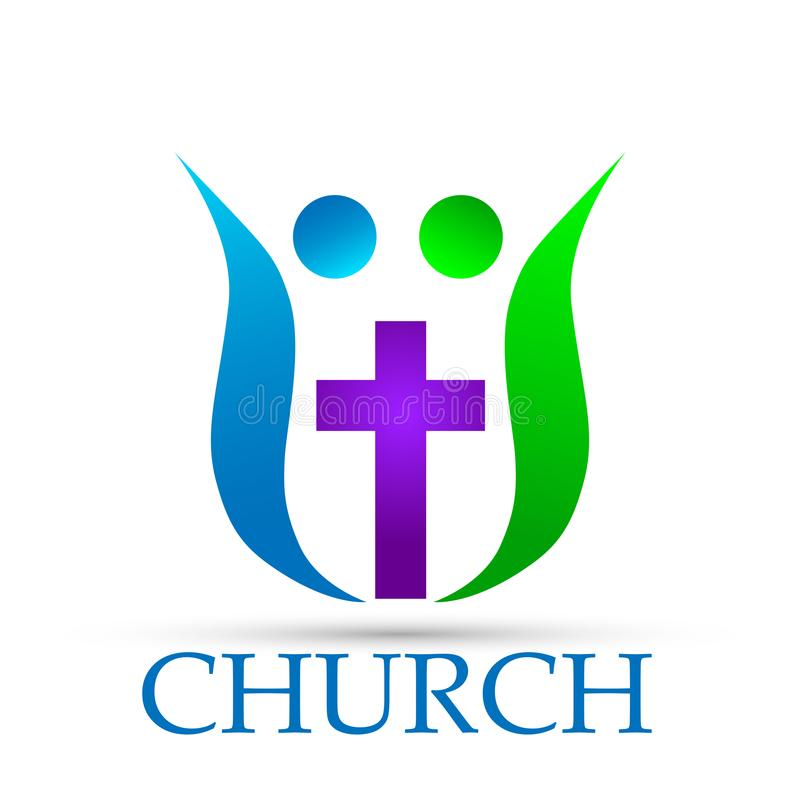 Family church logo icon on white background royalty free illustration