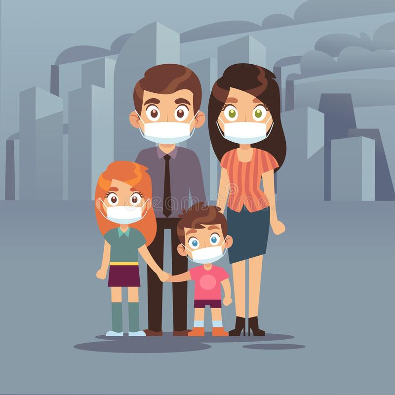 Family city smog. People protective face masks pollution air smog toxic industrial harmful waste dust mask n95 pm2, 5 stock illustration