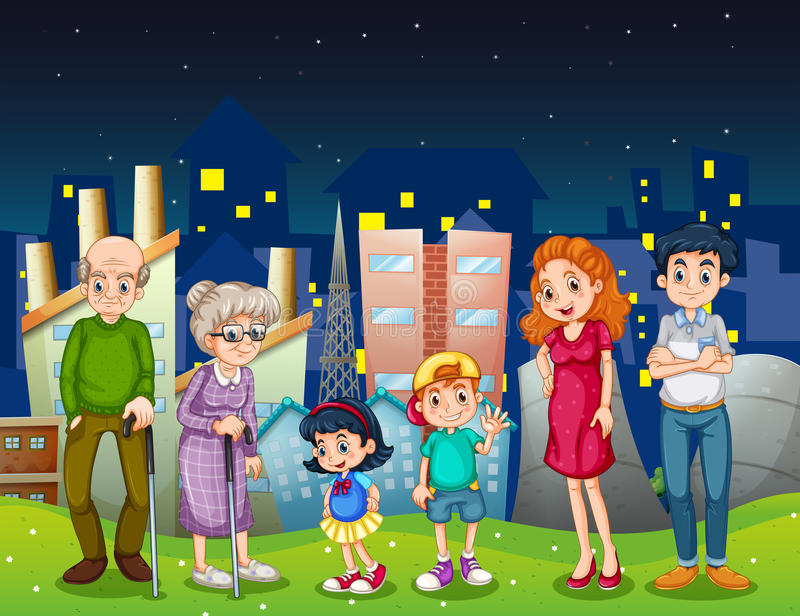 A Family At The City Standing In Front Of The Tall Buildings Stock Photos