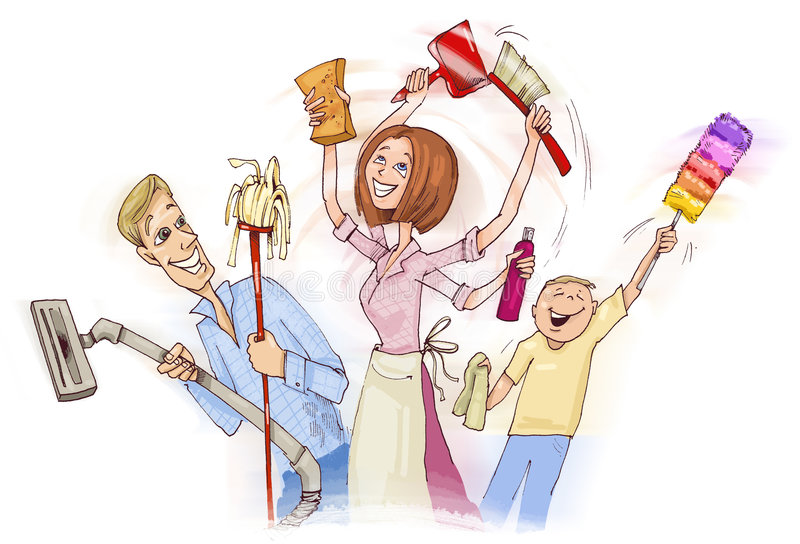 Family cleaning vector illustration