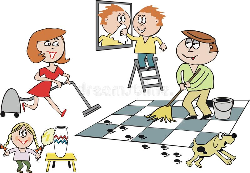 Family cleaning cartoon stock illustration