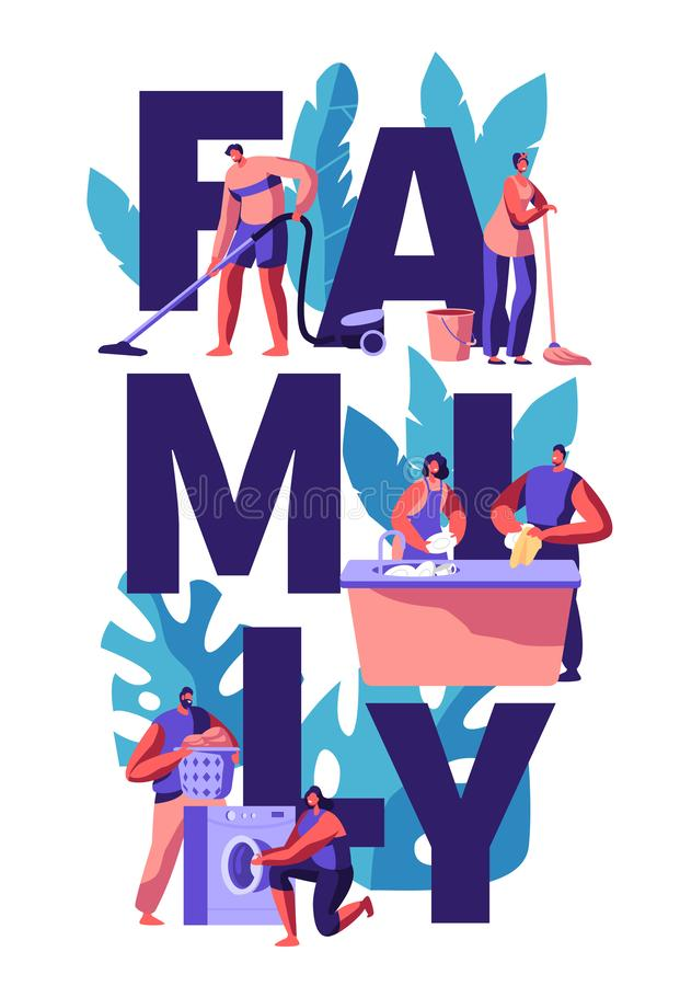 Family Cleaning House Together. Man Vacuuming and Wipe. Woman Wash Dish and Floor. Couple Picking Laundry from Washing Machine stock illustration