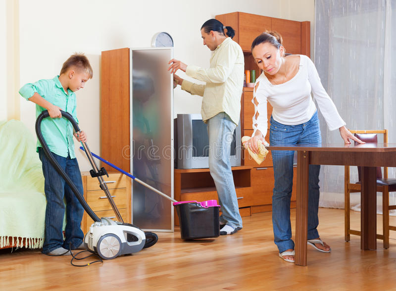 Download Family Cleaning In Living Room Stock Photo   Image Of Clean,  Housework: 57976622