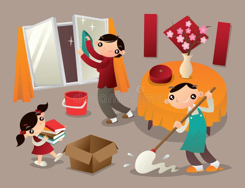 A family cleans their home thoroughly before new year. stock illustration