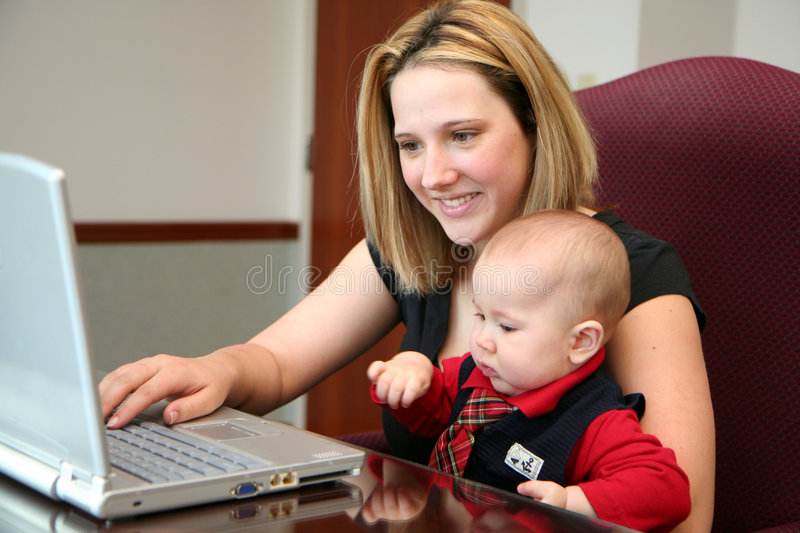 Family on Computer royalty free stock photography