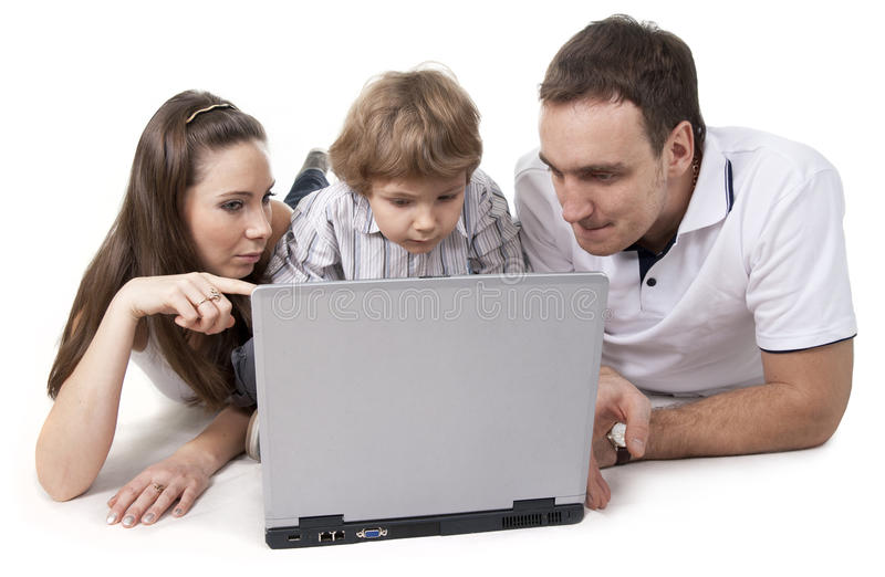Family And Computer Stock Images