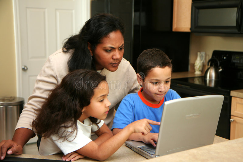 Download Family On Computer Royalty Free Stock Image - Image: 4893336