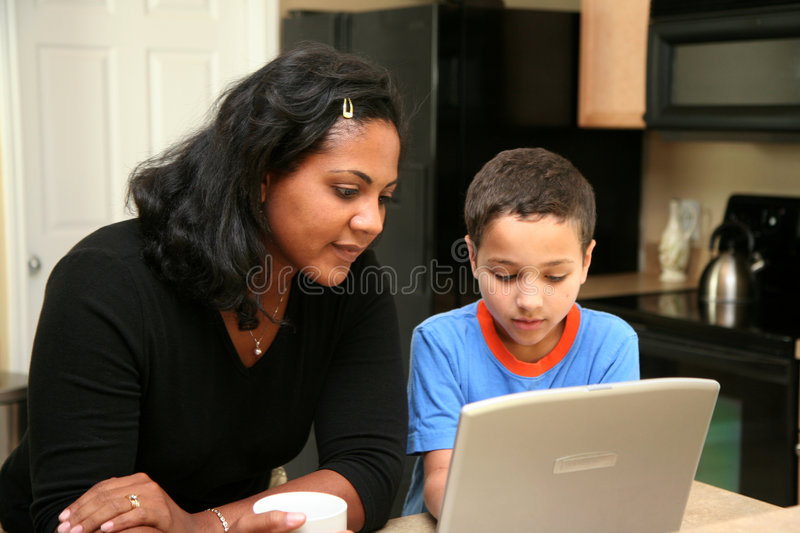 Download Family on Computer stock image. Image of lifestyle, interracial - 4911879