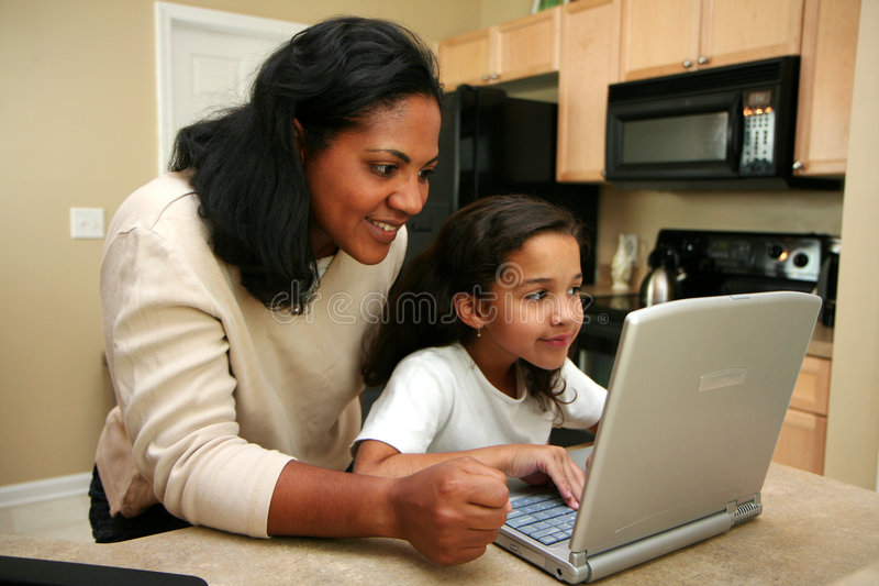 Family on Computer stock image