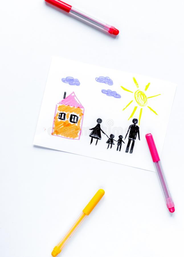 Family concept with children drawing on desk background top view mock up. Happy family concept with children drawing on white desk background top view mock up stock image
