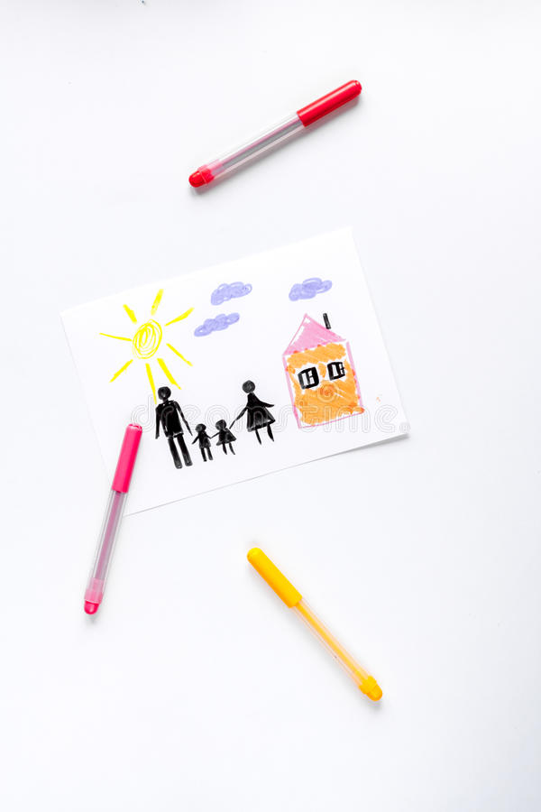 Family concept with children drawing on desk background top view mock up. Happy family concept with children drawing on white desk background top view mock up royalty free stock image